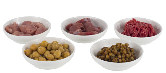 Bowls of beef, lamb, pork, legumes
