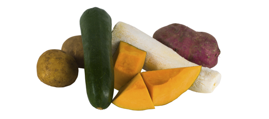 Vegetables (potato, pumpkin, kumara, kamokamo, cassava)
