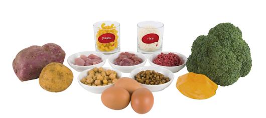 Vegetables (kumara, potato, pumpkin, broccoli), bowls of raw meat and legumes, eggs, glasses of pasta and rice