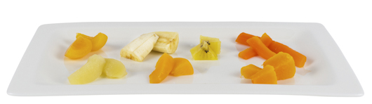 Small pieces of soft fruit and soft cooked vegetables