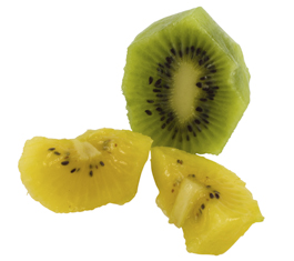 Chopped soft fruit like kiwi fruit