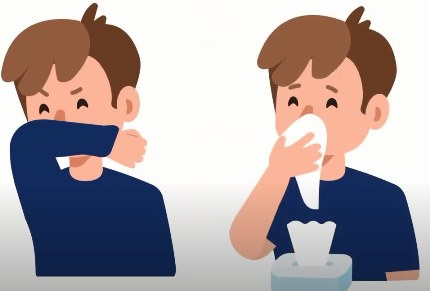 Graphic showing a child sneezing or coughing into their elbow and into a tissue