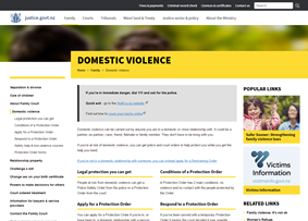 Thumbnail image of screenshot of domestic violence section of www.justice.govt.nz