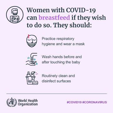 Image of World Health Organisation social media tile - Breastfeeding mothers and COVID-19