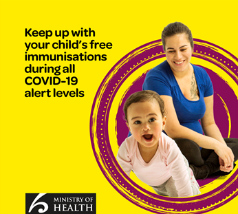 Image of mother and child with text: Keep up with your child's free immunisations during all COVID-19 alert levels