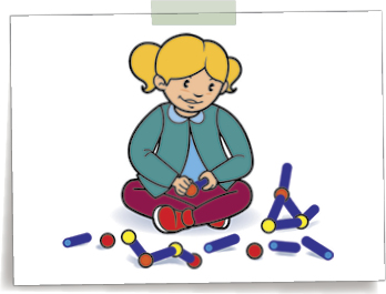 Graphic of child sitting on floor and playing with connector toys