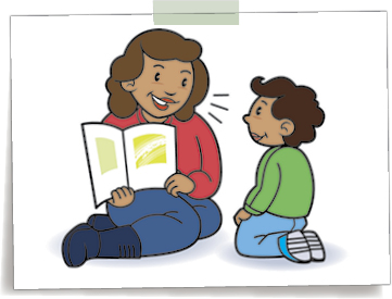 Graphic of a mother reading to her child