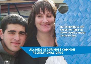 "Photo of mother and son with the words ""Alcohol is our most common recreational drug. Not drinking is the safest option for young people under 18 years of age."""