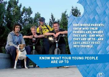 "Photo of group of 4 teenagers with the words ""Kids whose parents know who their friends are, where they are - and what they are up to - are less likely to get into trouble""."