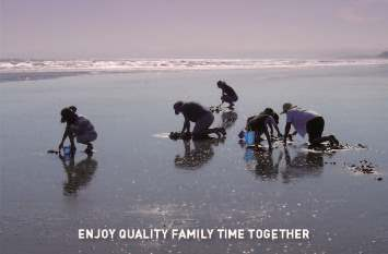 "Photo of family group collecting sea food at the beach. Words across bottom of photo: ""Enjoy qulaity family time together""."