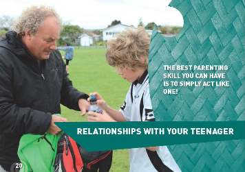 "Photo of father and son with the words: ""The best parenting skill you can have is to simply act like one!"" and ""Relationships with your teenager"""