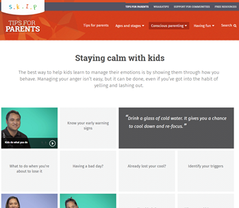 Screenshot of page on SKIP website - Staying calm with kids