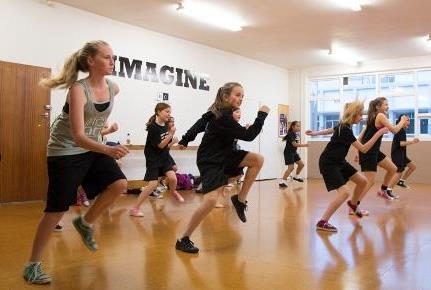 Group of children in a fitness class