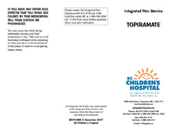 Topiramate parent information leaflet (BC Children's Hospital, Vancouver, Canada)