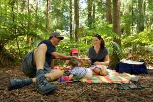 Family having a picnic outdoors in Rotorua, New Zealand